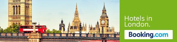 """Ansicht von London   mit Aufschrift """"Hotels in London"""""""