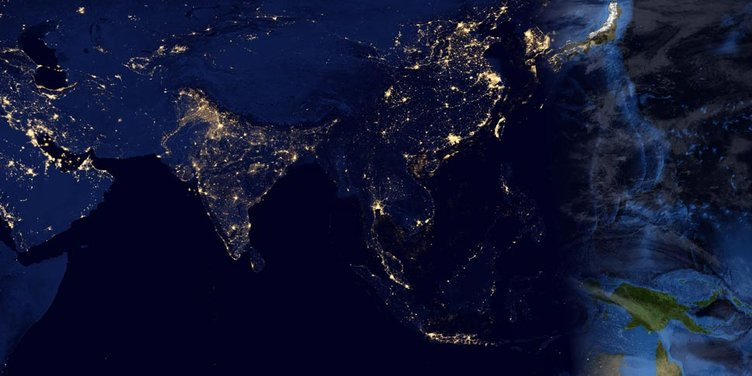 Weltraum Nacht Erde Weltall Raumfahrt Elektrizität Strom Asien Indien China Japan 970x485 72dpi