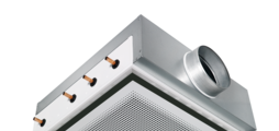 Active chilled beam with four-way air discharge and horizontal heat exchanger, suitable for grid ceilings with grid size 600 or625